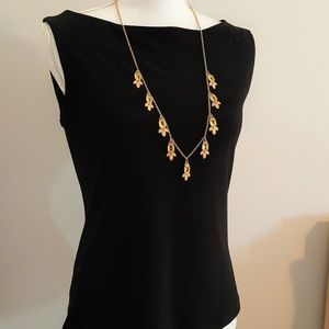 Ann Taylor Gold Tone Necklace with Crystals
